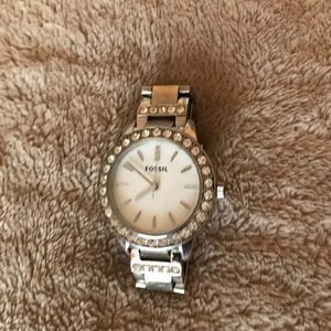 Fossil silver watch with rhinestones